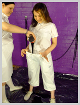 Wendy and Felicity thoroughly treacle-test two pristine white uniforms featuring Felicity, the Serving Wench