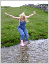 Dungaree Dipping on the High Moors featuring Modesty, the wild child