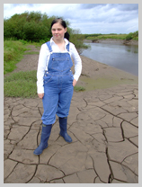 Wendy wears blue denim dungarees into soft riverbank clay featuring Nurse Wendy-Household, Registered Gunge Nurse