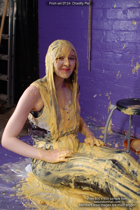 Chastity Pie Chastity In A Jumpsuit Pelted With Pies