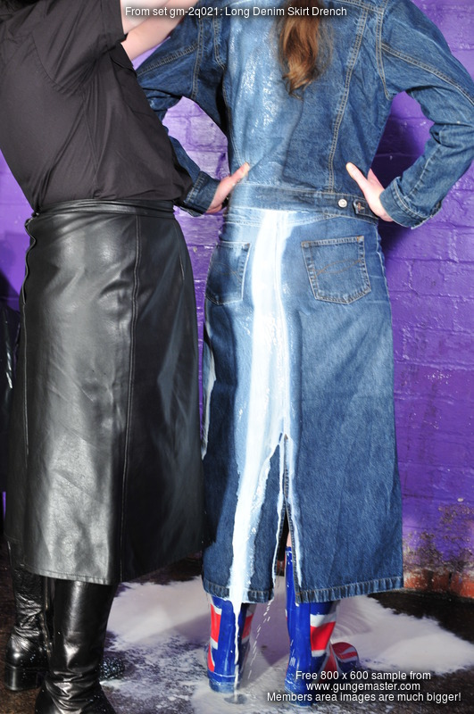 Long Denim Skirt Drench Willing Wench Chastity Doused In