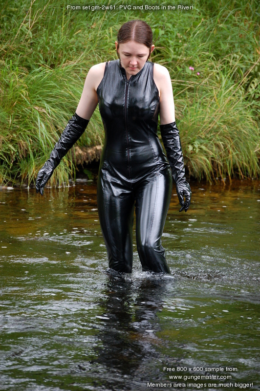 Pvc And Boots In The River Chastity Takes An Outdoor